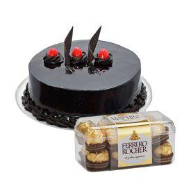 1 kg chcocolate truffle cake with 16 pieces ferrero rocher.