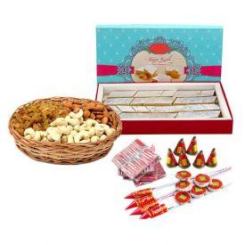 Flowers, Diya, Sweets, Crackers