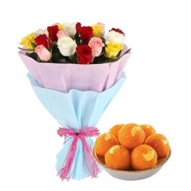 Bunch of 10 Mixed Roses with 1/2 Kg Motichur Laddoo