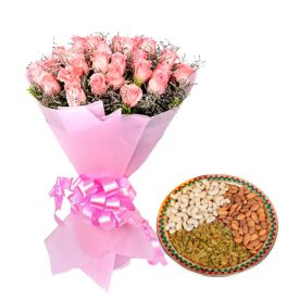 Bunch of 10 pink roses and 1/2 kg mixed dry fruits