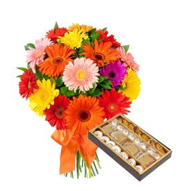 Bunch of 10 Mixed Gerbera and 1/2 Kg Mixed Sweets.