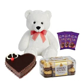 1kg chcocolate truffle cake with 6inch teddy with 3 dairy milk silk chcocolates and 16 pieces of fer