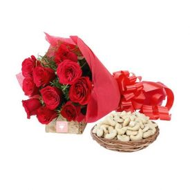 Bunch of 10 red roses and 1 kg cashew with basket