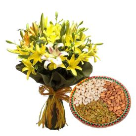 A vase of 10 mixed lilies, and 1 kg dry fruits