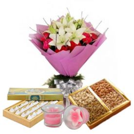 Flowers, Dry Fruits, Sweets and Diya
