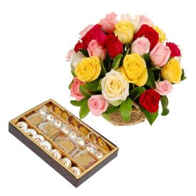 Basket of 20 Yellow and Red Roses with 1/2 Kg Mixed Sweets.