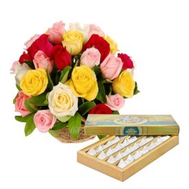 Basket of 25 Red Roses and 1/2 Kg kaju Katl.