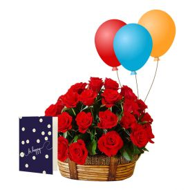 Roses Balloons with Greeting Card