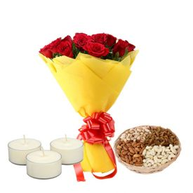 Flowers, Greeting Card, Dry fruits and Diyas
