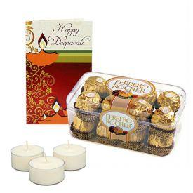 16 pcs ferrero rocher, cadbury celebration pack, some crackers with card
