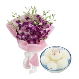 Bunch of 10 Purple Orchid and 1 Kg Gulab Jamun