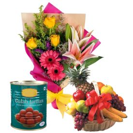 20 Mixed Flowers,2 Kg Mixed Fruits and 1 Kg Gulab Jamun