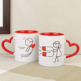 Heart Handle Red N Pink Mug