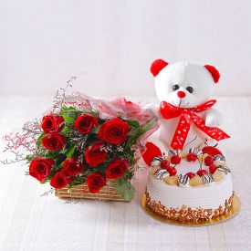 Rose with cake and soft toy