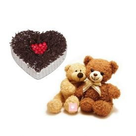 1Kg Heart Shape cake, 6inch Teddy Cupules Bear .