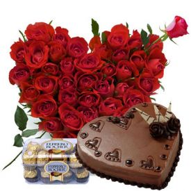 Heart shape roses, chocolate cake with ferrero rocher