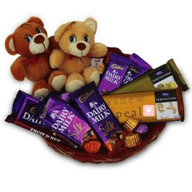 10 mixed chocolates and 2 cute 6 inch teddy bears