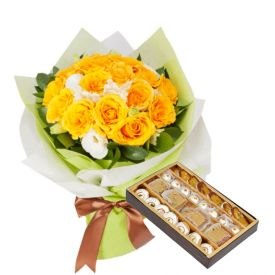Yellow Roses with Mixed Sweets.