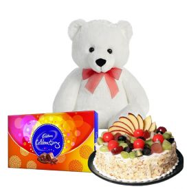 1kg fruit cake with 6inch teddy bear and 1 cadbury celebrations.