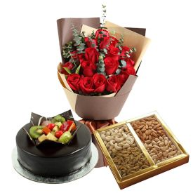 20 Red Roses, 1 Kg Mixed Dry fruits and 1 Kg chocolate fruits cake