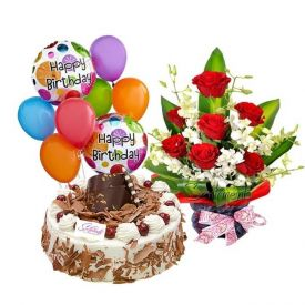 Bunch of 12 Red Roses, 1 kg Black Forest Cake and 6 Pcs balloons