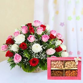 Flowers, Dry Fruits and Diya