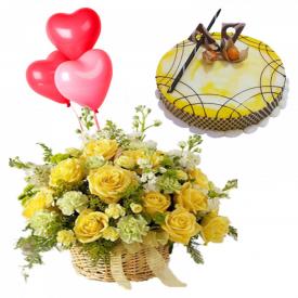 Happy birthday combo cakes balloons with cake