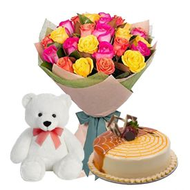 A bunch of 25 mixed roses, 1/2 kg butterscotch cake and (6-inch cute-teddy)