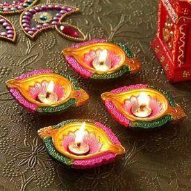 Delightful Set of 4 Colourfull Terracotta Table Diya Set