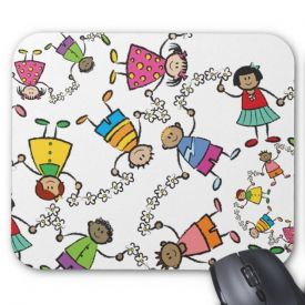 Happy friends around the world mouse pad
