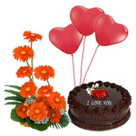 1/2 kg chocolate cake, 3 heart shaped balloons and 10 gerberas.