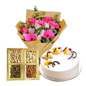 Half Kg Dry fruits,12 Mixed Flowers and 1/2 kg Pineapple Cake