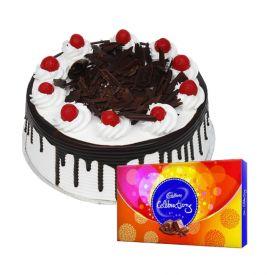 1/2 Kg black forest cake with cadbury celebrations.