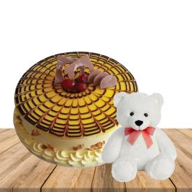 1 kg Heart shape butterscotch premium quality cake with 6 inch teddybear