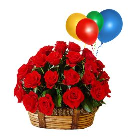 Basket of Roses with Balloons