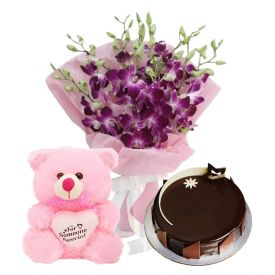 A bunch of 10 purple orchid 1 kg chocolate cake and (6-inch-teddy bear).