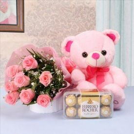 Roses with Ferrero Rocher and Teddy