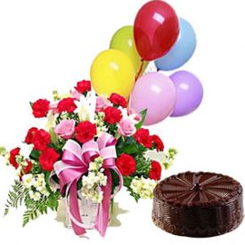 A Basket of 20 Mixed Roses, 1/2 Kg Chocolate Cake and 6 Balloon