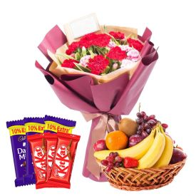 12 Mixed Flowers With 2 Kg Mixed Fruits and 6 Pcs Cadbury Dairy Milk & Kit kat Chocolates.