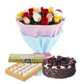 10 mixed Roses, 1 Kg Black forest cake and 1 Kg Kaju Katli