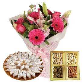 A Bunch of 12 Mixed Flower,1/2 Kg Mixed Dry Fruits and 1/2 Kg Kaju Katli
