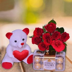 Red Roses, Teddy Bear and Ferrero Rocher
