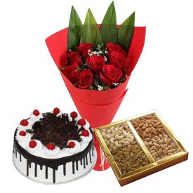 10 Red Roses, 1 Kg Dry fruits and 1 Kg Black Forest cake