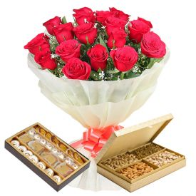 15 Red Roses Bouquet With Sweets & Dry Fruits