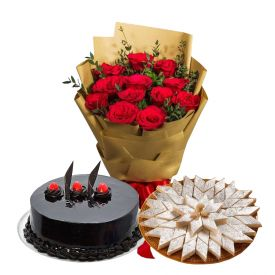 15 Red Roses, 1/2 Kg chocolate cake , 1/2 Kg Kaju Katli