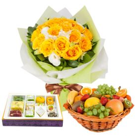 12 Yellow Roses with 1 Kg Mixed Sweets and 2 kg Mixed Fruits