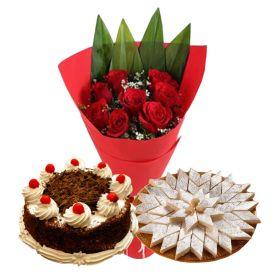 10 Red Roses, 1 Kg Black forest cake and 1 Kg Kaju Katli