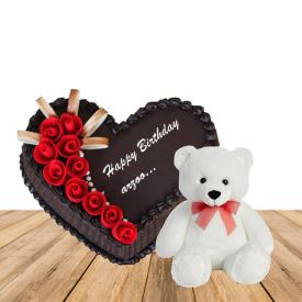 1 kg chcolate heart shape cake with exotic fruits topping with 3 deet height teddybear
