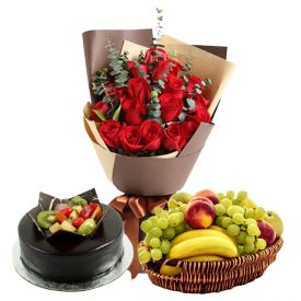 Bunch of 20 Red Roses and 3 kg fruits in Basket and 1 kg chocolate fruit cake