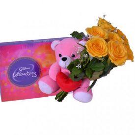 6 Yellow Roses, 6 inches of Teddy Bear Cadbury celebration